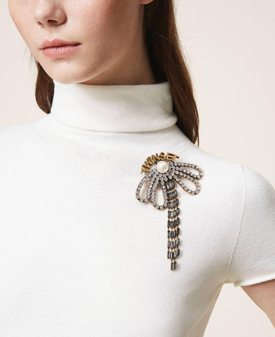 Broche en nœud avec strass et franges Cristal Femme 202TO5044-0S