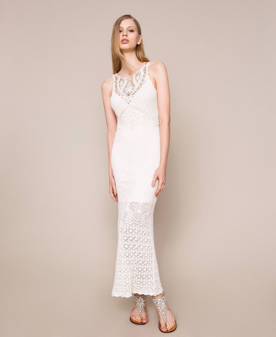 Long dress with crochet details and embroideries White Snow Woman 201TT3150-01