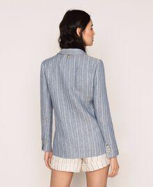 Double breasted pin stripe linen blazer Blue Pin / Antique White Stripes Woman 201TT2303-03