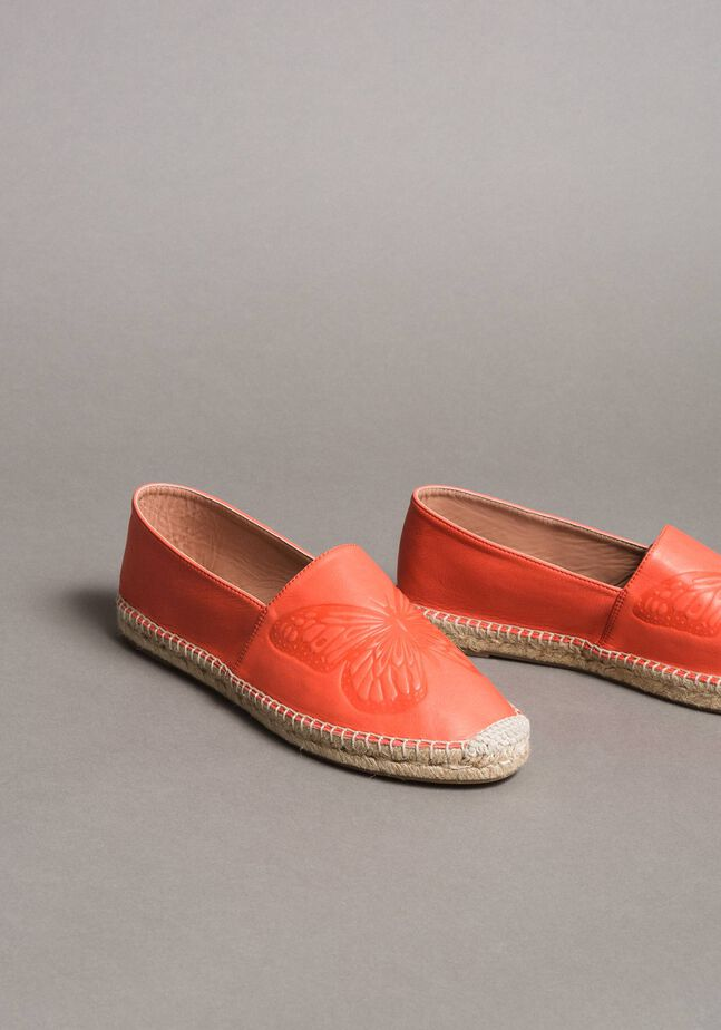 Leather espadrilles with butterfly