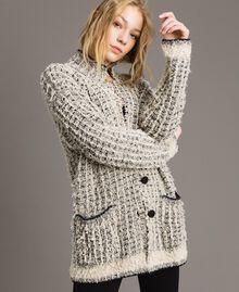 Lurex yarn maxi mandarin collar cardigan Two-tone Ecru Vrillé Woman 191TP3321-01