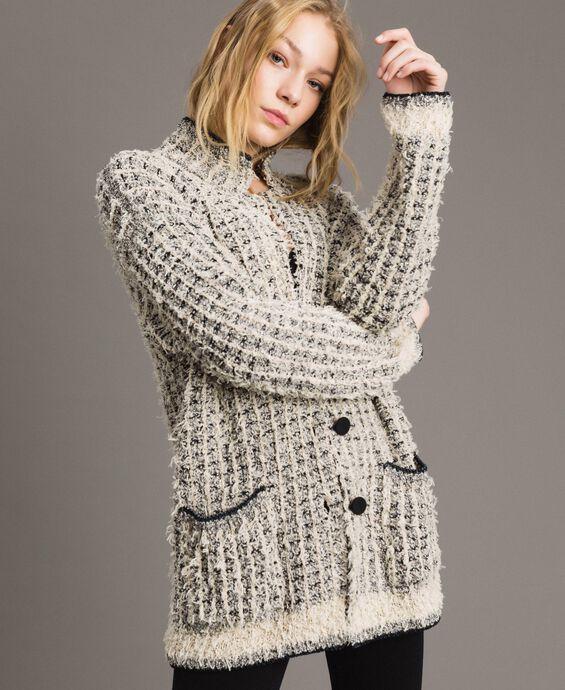 Lurex yarn maxi mandarin collar cardigan