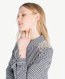 Long gingham shirt Two-tone Optical White / Black Gingham Woman JS82ER-04