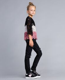 Blouse en dentelle multicolore Multicolore Rose «Blush» / Noir / Roses Enfant GA82QA-02