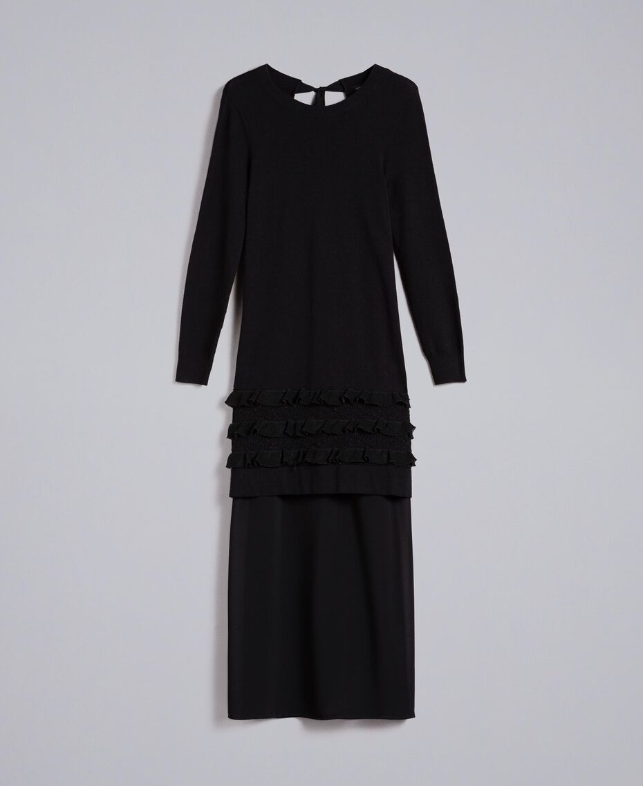 Knitted dress with ruches and inlay Black Woman PA83CR-0S