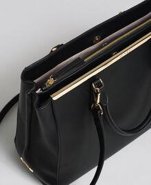 Sac cabas en similicuir avec logo Noir Femme 192TO8050-04