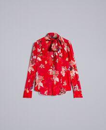 Blouse en crêpe georgette floral Imprimé Jardin Rouge Femme PA8274-0S