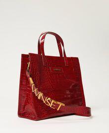 Medium leather Twinset Bag shopper Black Crocodile Print Woman 202TB7113-02