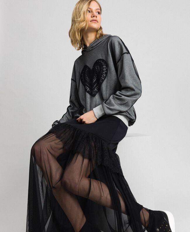 Sweatshirt aus Tüll mit Stickerei Hellgrau-Mélange Frau 192LI2TBB-01
