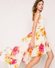 Vestido asimétrico de georgette de flores Estampado Hibiscus Nieve Mujer 201TT2493-03