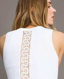 """Top en maille côtelée Bicolore Blanc Optique / Jaune """"Jus de Citron"""" Femme 191LL36EE-01"""