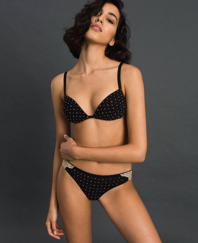 Culotte brésilienne avec strass et dentelle lamée Rose «Pêche» Femme 192LL6J77-01