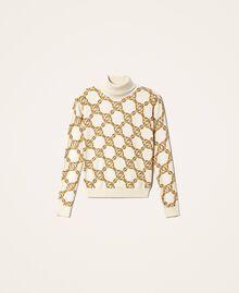 Maglia dolcevita con stampa catene Stampa Catena Grande Avorio / Oro Donna 202TT3340-0S
