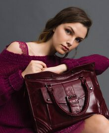 Sac cabas en cuir effet craquelé Rouge Betterave Femme 192TA7235-0S