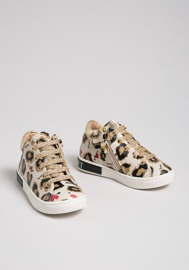 Animal print leather trainers