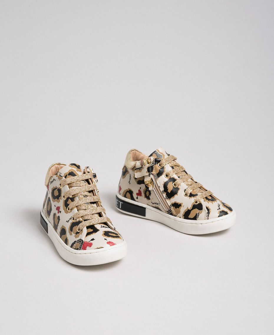 Animal print leather trainers Leopard Print Child 192GCB024-01