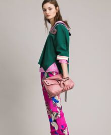 Floral satin jogging trousers Wind Flower Pink Print Woman 191TP2473-0T