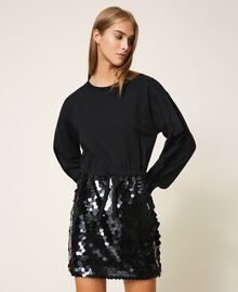 Plush fabric dress with sequins Black Woman 202MT2121-02