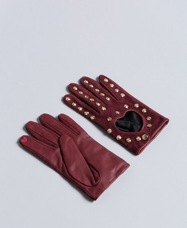 Leather and suede gloves Bordeaux Woman AA8P3D-01