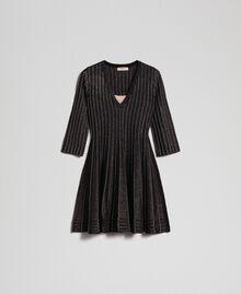 Plissee-Strickkleid mit Lurex Black Lurex Frau 192TP3302-0S