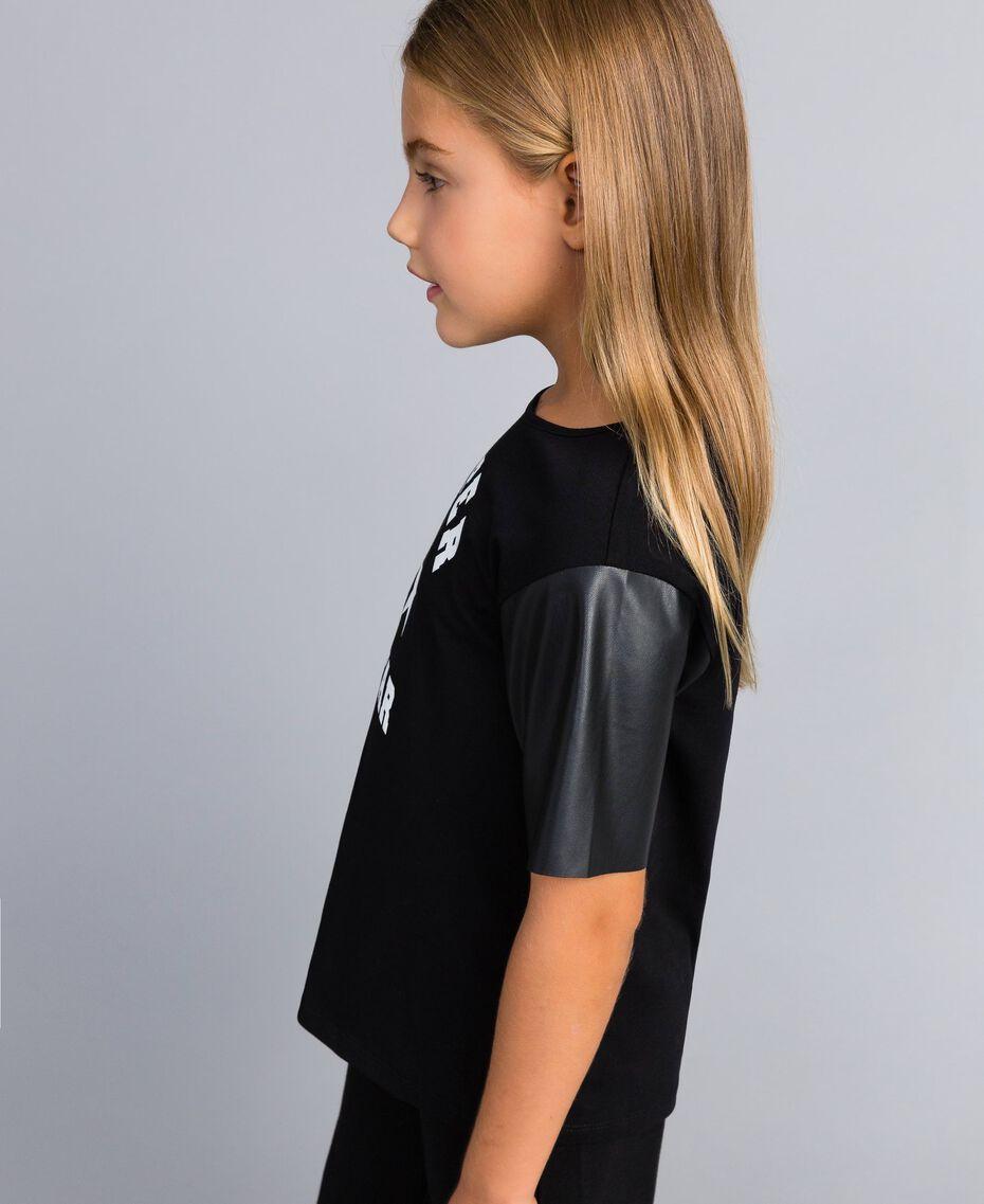 T-shirt en coton avec imprimé Noir Enfant GA82B3-02