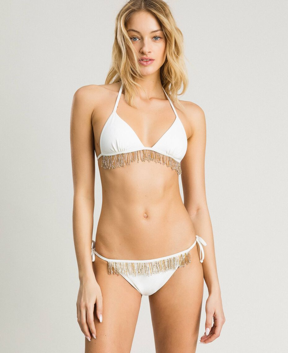 Bikini set with beaded fringes Ivory Woman 191LMMBYY-0S