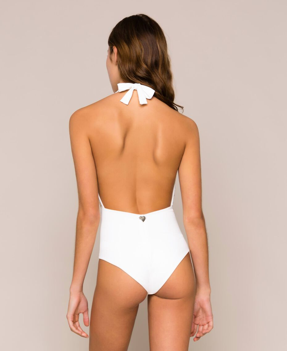 One-piece swimsuit with sequins Ivory Woman 201LBM1ZZ-03