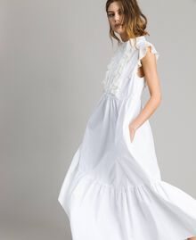 Poplin long dress with ruches White Woman 191TT2262-02