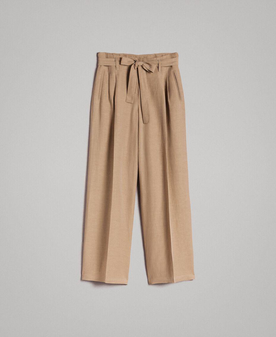"""Pantalon en lin Marron """"Désert Froid"""" Femme 191TT230A-0S"""