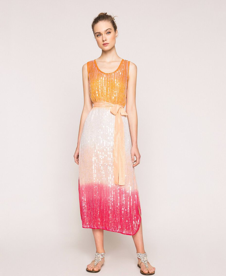 Платье в технике тай-дай со сплошной отделкой пайетками Разноцветный Батик Радужный Розовый женщина 201TT2330-01