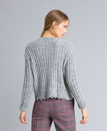 Tweed jumper with ruches Light Gray Mélange Woman SA83DA-03