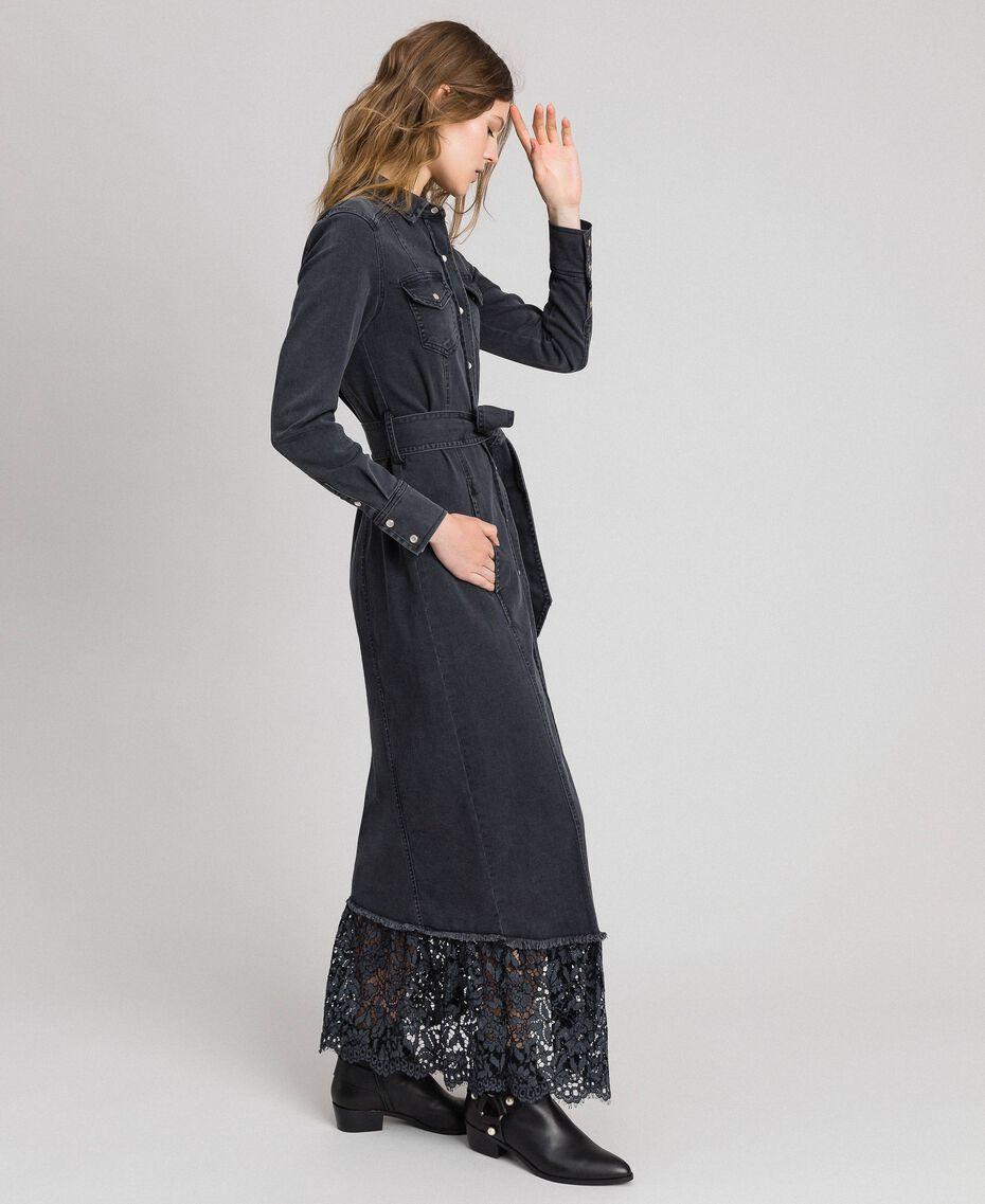 Black denim shirt dress with lace flounce Black Denim Woman 192MP2330-02