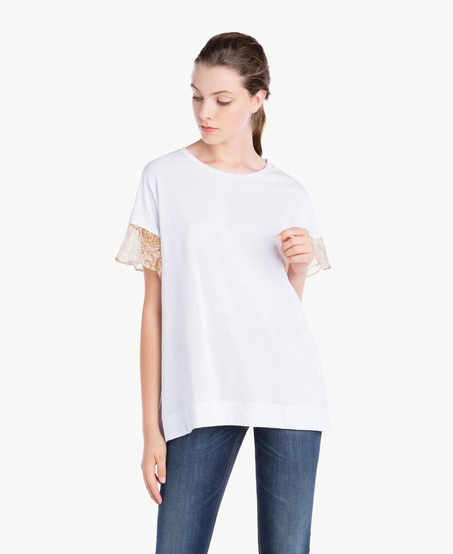 T-shirt with lace sleeves White Woman NS82AQ-01