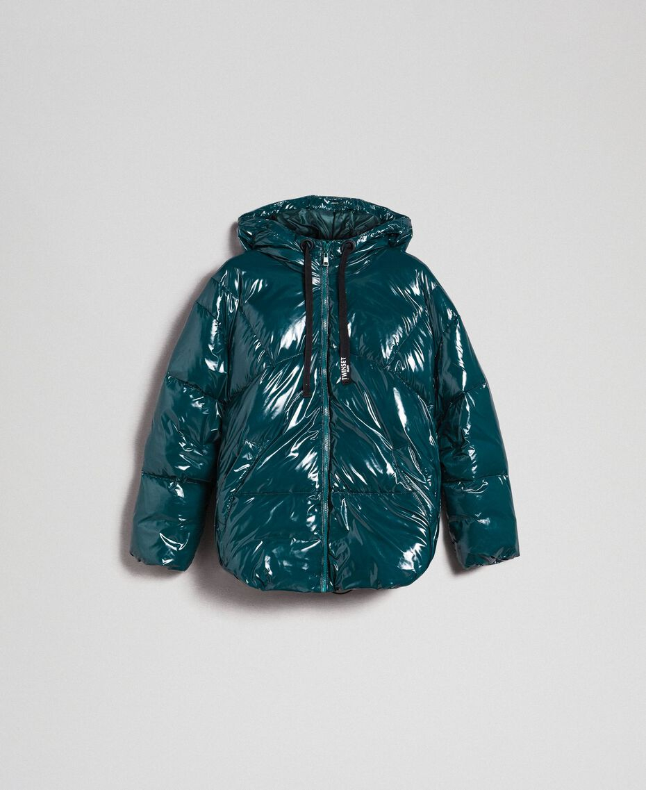 Piumino corto trapuntato in vera piuma Verde Dark Donna 192TP2500-0S