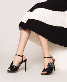Patent leather sandals with maxi bow Black Cherry Woman 201TCP114-0S