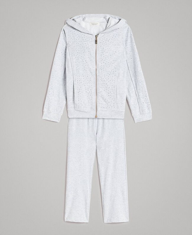 Stretch cotton tracksuit with rhinestones Light Gray Mélange Child 191GJ2461-01