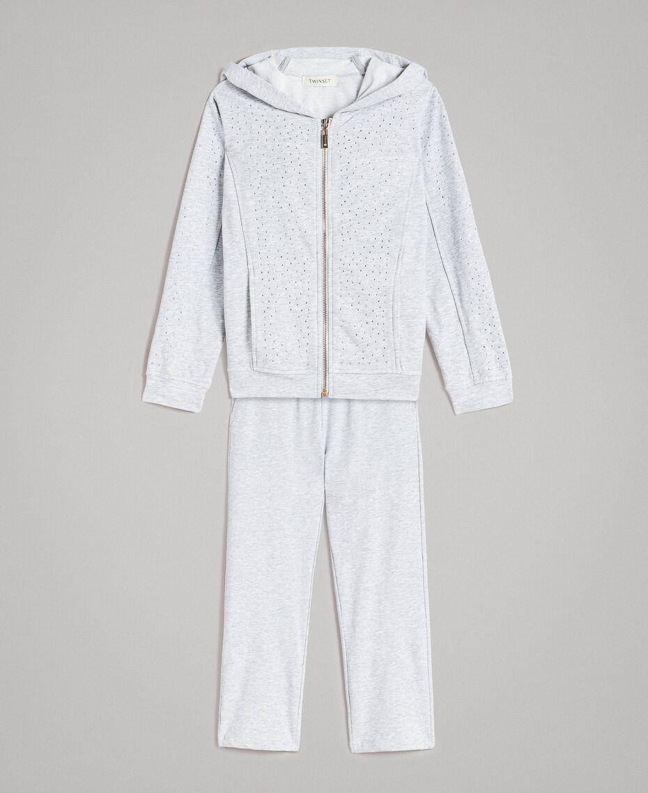 Stretch cotton tracksuit with rhinestones Light Gray Mélange Child 191GJ2461-01