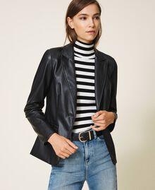 Faux leather blazer Black Woman 202MP2092-01