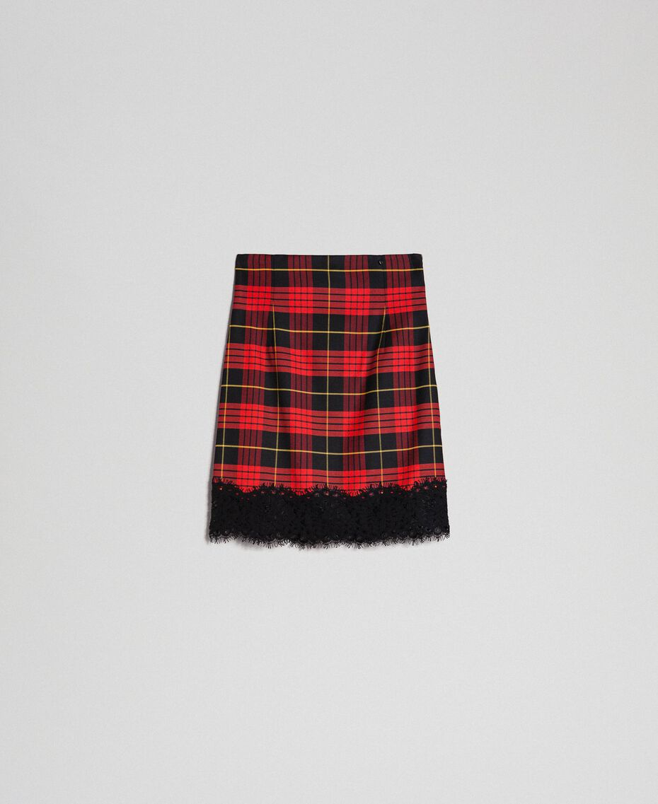 Chequered wool high waist skirt Pomegranate Tartan Jacquard Woman 192TP2624-0S
