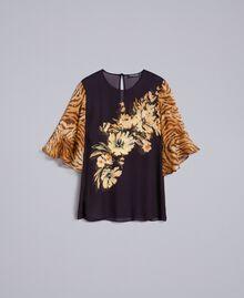 Blusa in georgette con mix di stampe Stampa Fiore / Tigre Donna TA825D-0S