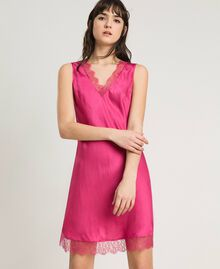 Slip dress in satin and lace Rose Blossom Woman 191LL2DBB-01