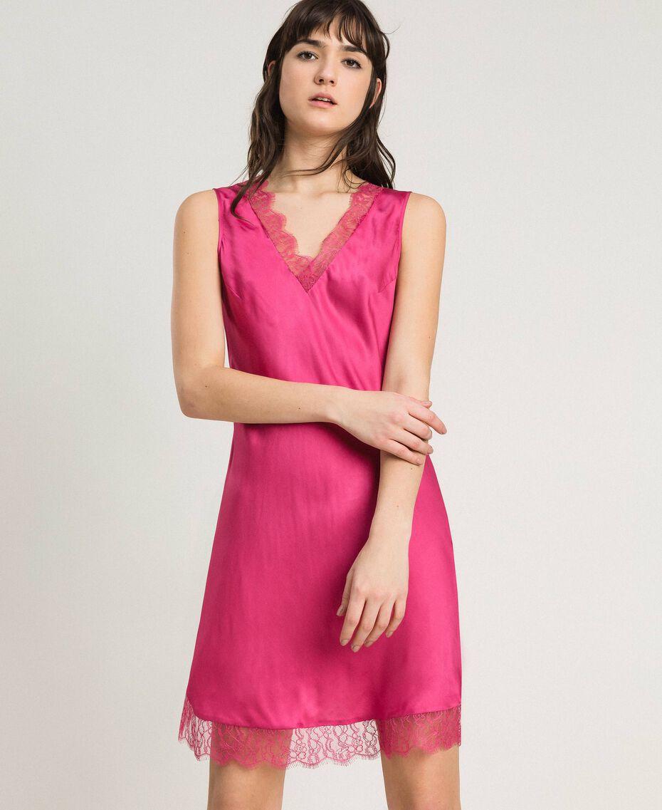 Slip-In-Kleid aus Satin und Spitze Rose Blossom Frau 191LL2DBB-01
