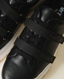 Faux leather trainers with logo Black Woman 202MCT010-04