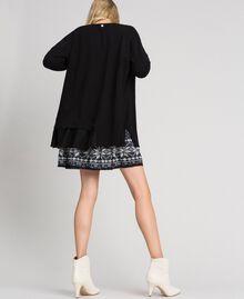 Maxi cardigan et nuisette imprimée avec dentelle Noir / Blanc «Vanille» Femme 192MT3092-04