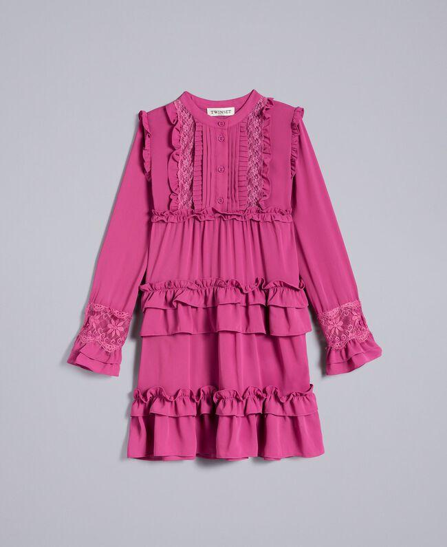 Georgette flounced dress Pink Bouganville Child GA82HA-01