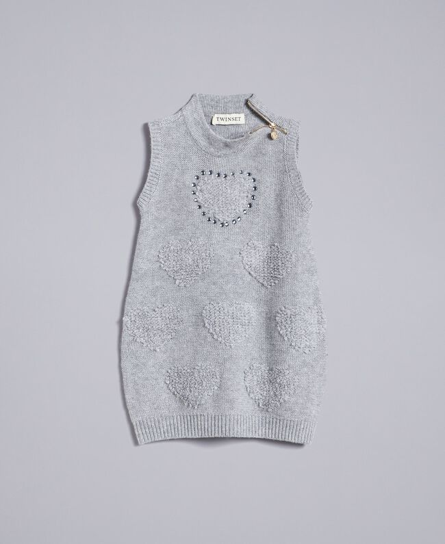 Mini dress with hearts Light Gray Mélange Child FA83DA-01
