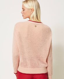Mohair blend jumper with floral embroidery Peach Woman 202TP3430-03