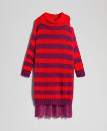 Gestreiftes Kleid aus Mohair mit Unterkleid Streifen Rote-Bete-Rot / Granatapfel Frau 192TP3270-0S