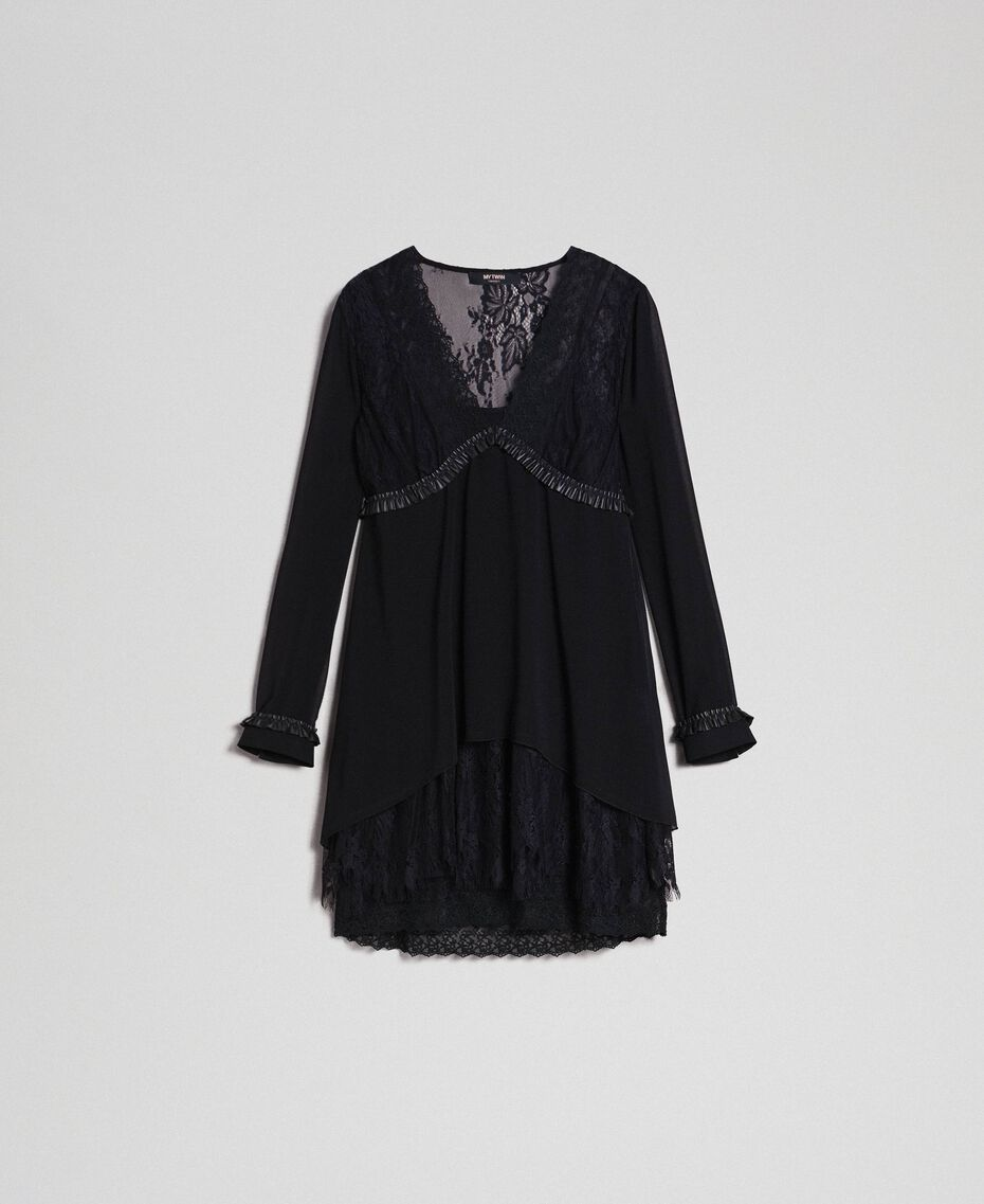 Georgette dress with lace Black Woman 192MT2080-0S