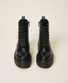 Faux leather combat boots with logo Black Woman 202MCP080-05